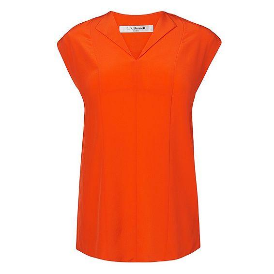 Taryn Orange Silk Woven Top