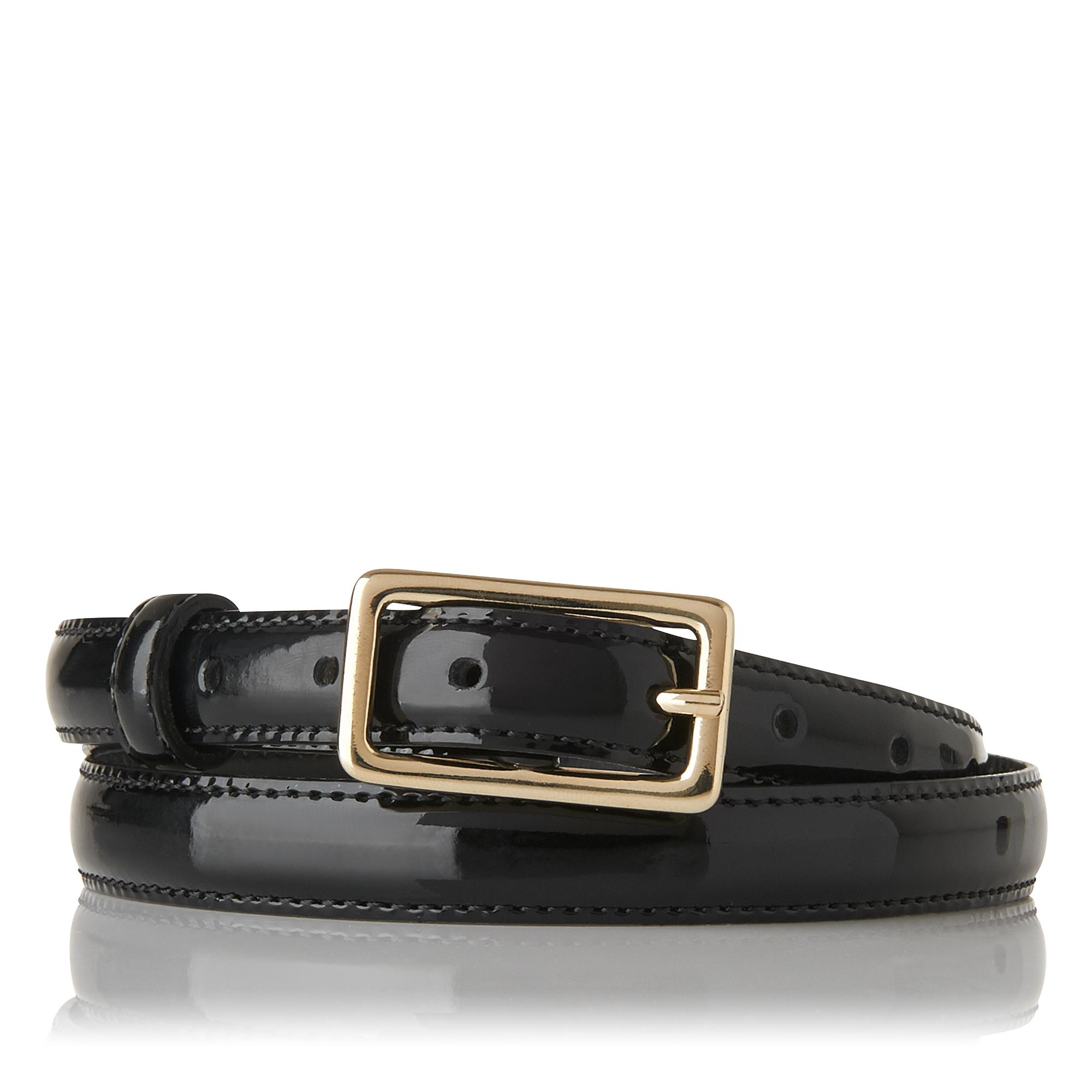 Glenda Black Patent Leather Belt