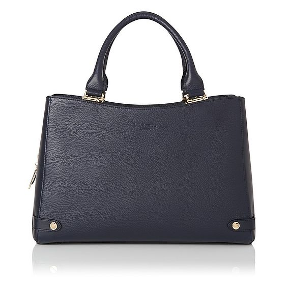 Isabella Navy Leather Tote