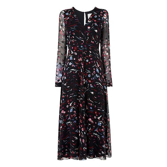 Ally Floral Printed Silk Dress
