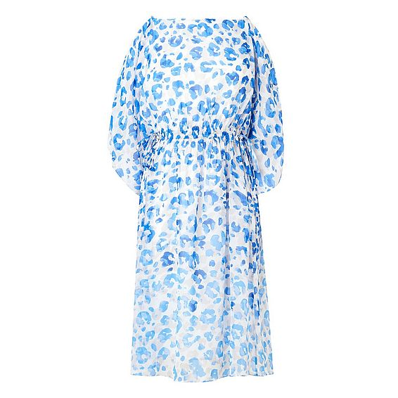 Marnie Blue Animal Print Silk Dress