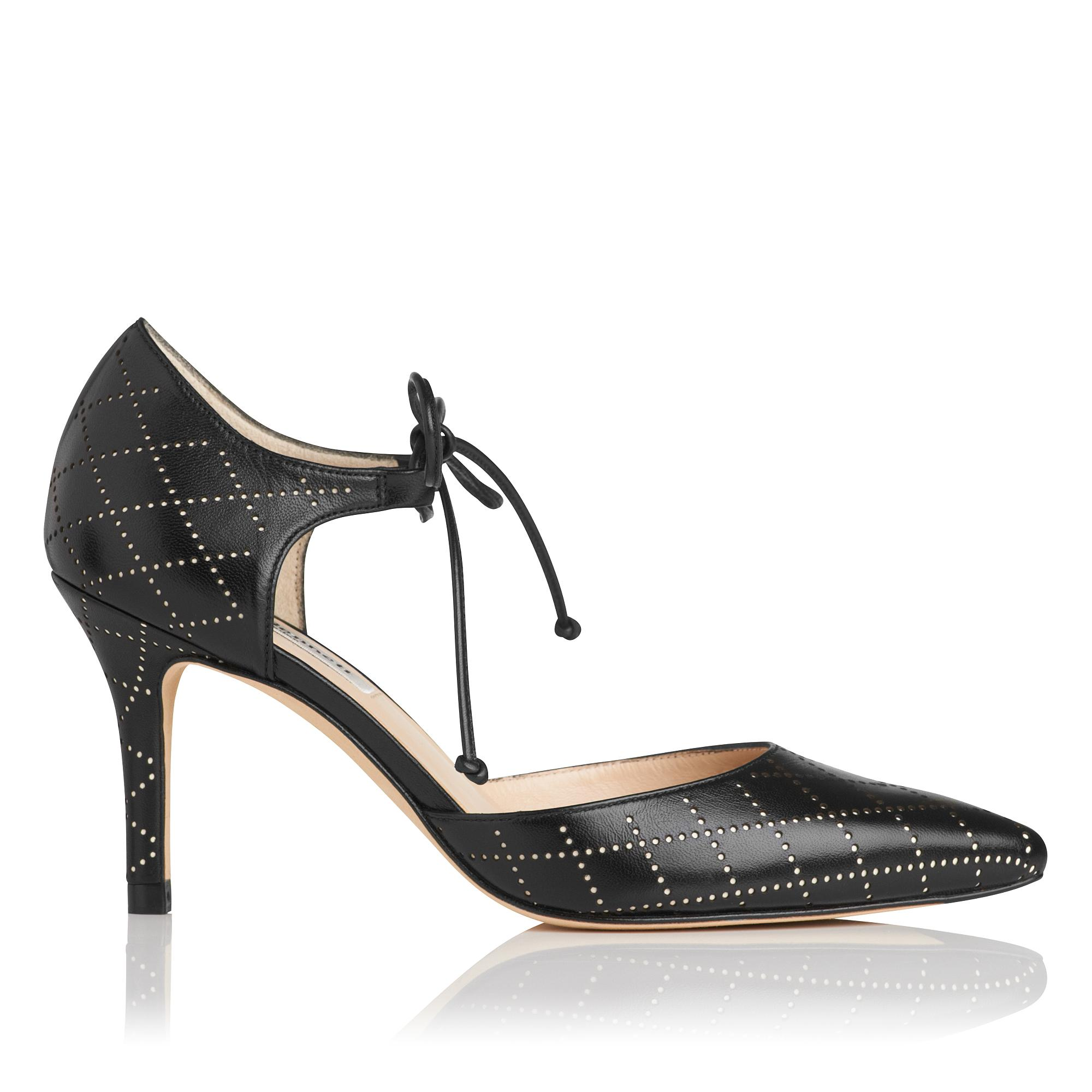 Fauna Black Leather Heel