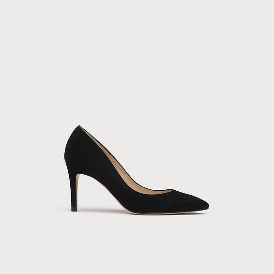 Floret Black Suede Heels