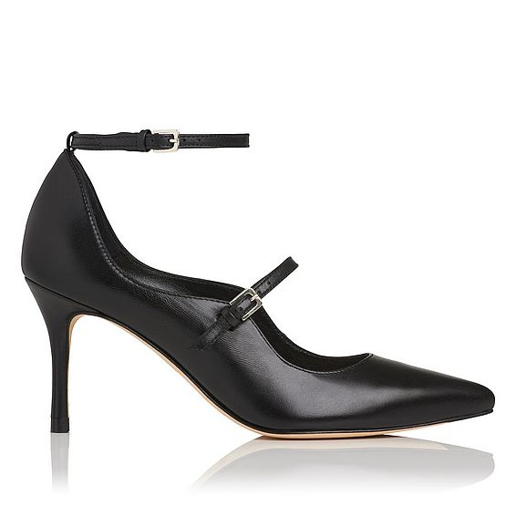 Natalia Black Leather Heel