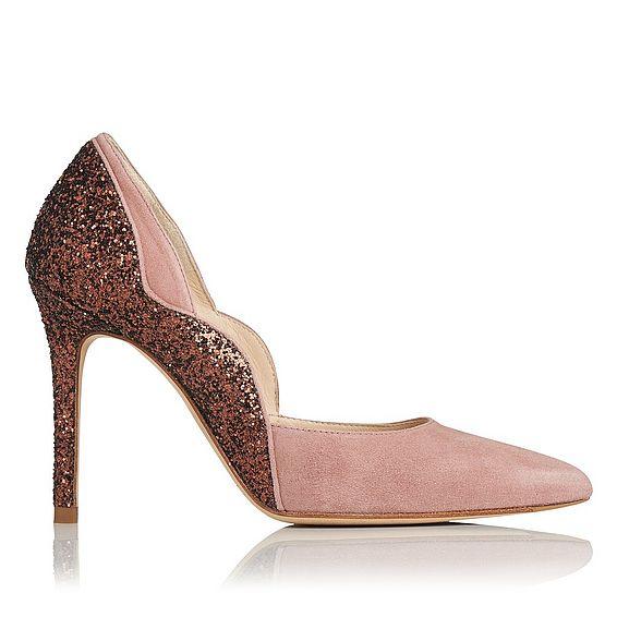 Roselle Pink Glitter Suede Heel