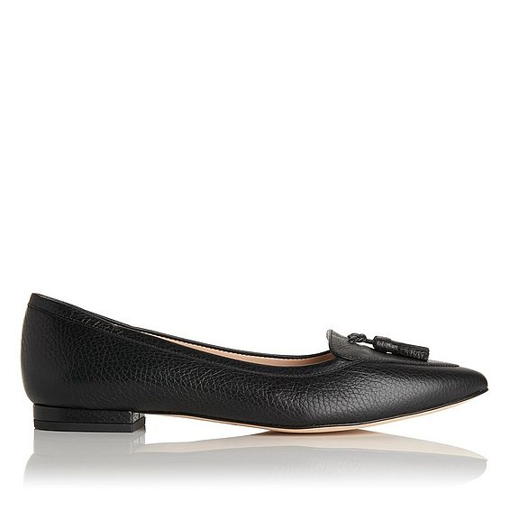 Dixie Black Leather Flat