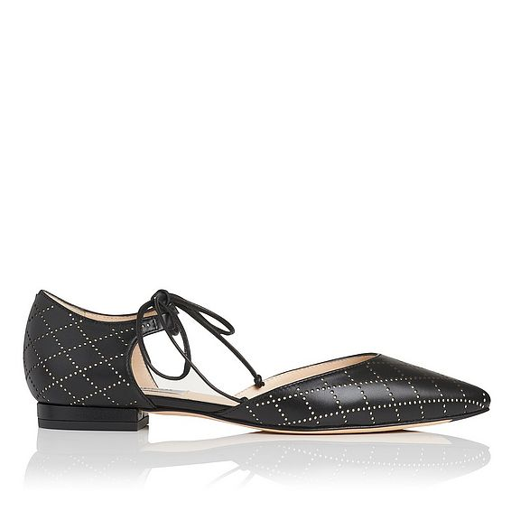 Mikaila Black Leather Flats