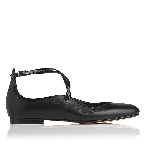 Nessie Black Leather Flat