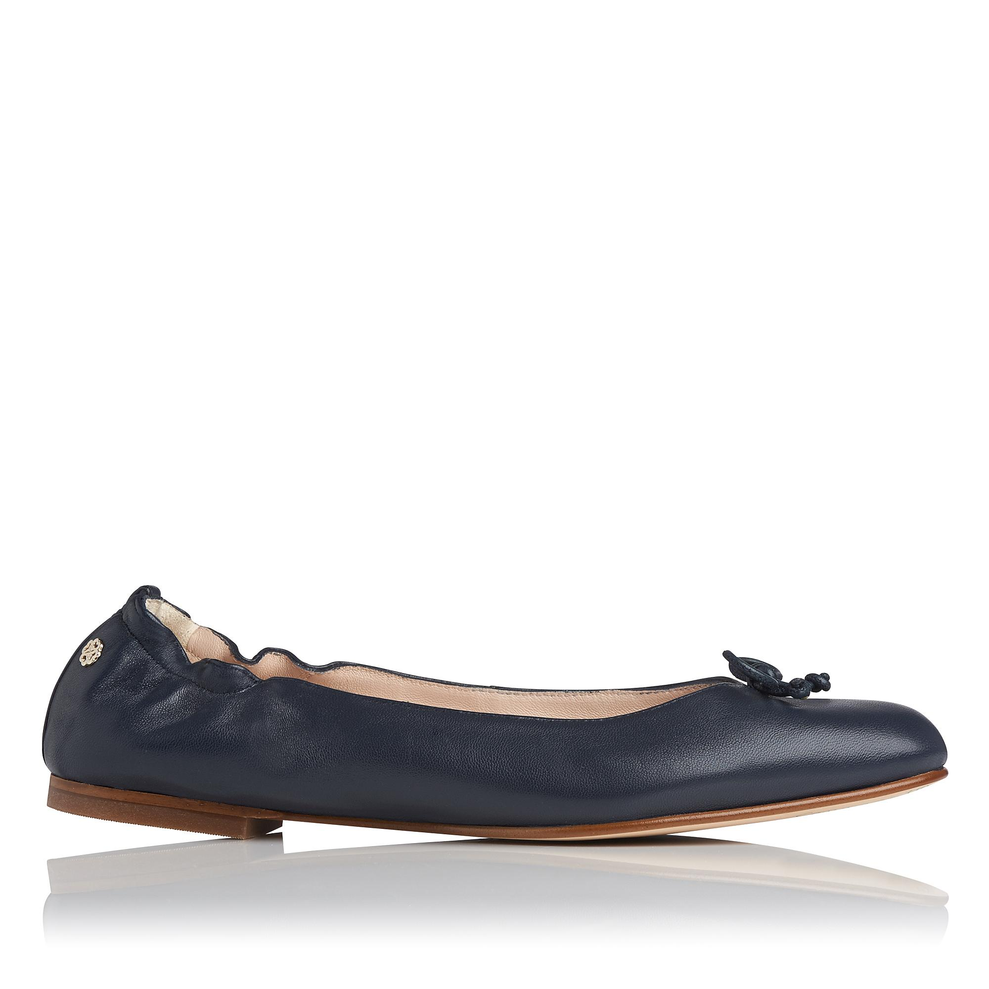Thea Navy Leather Flats