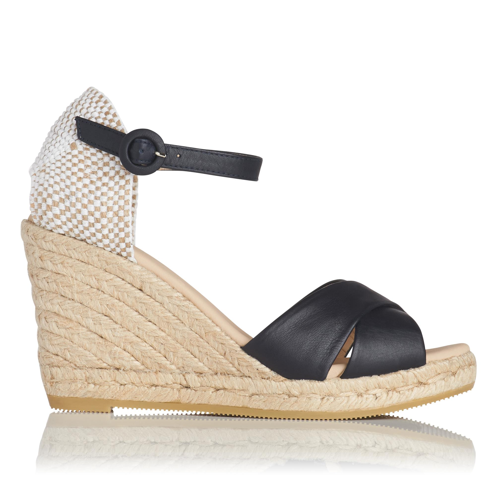 Angele Navy Espadrille Wedge