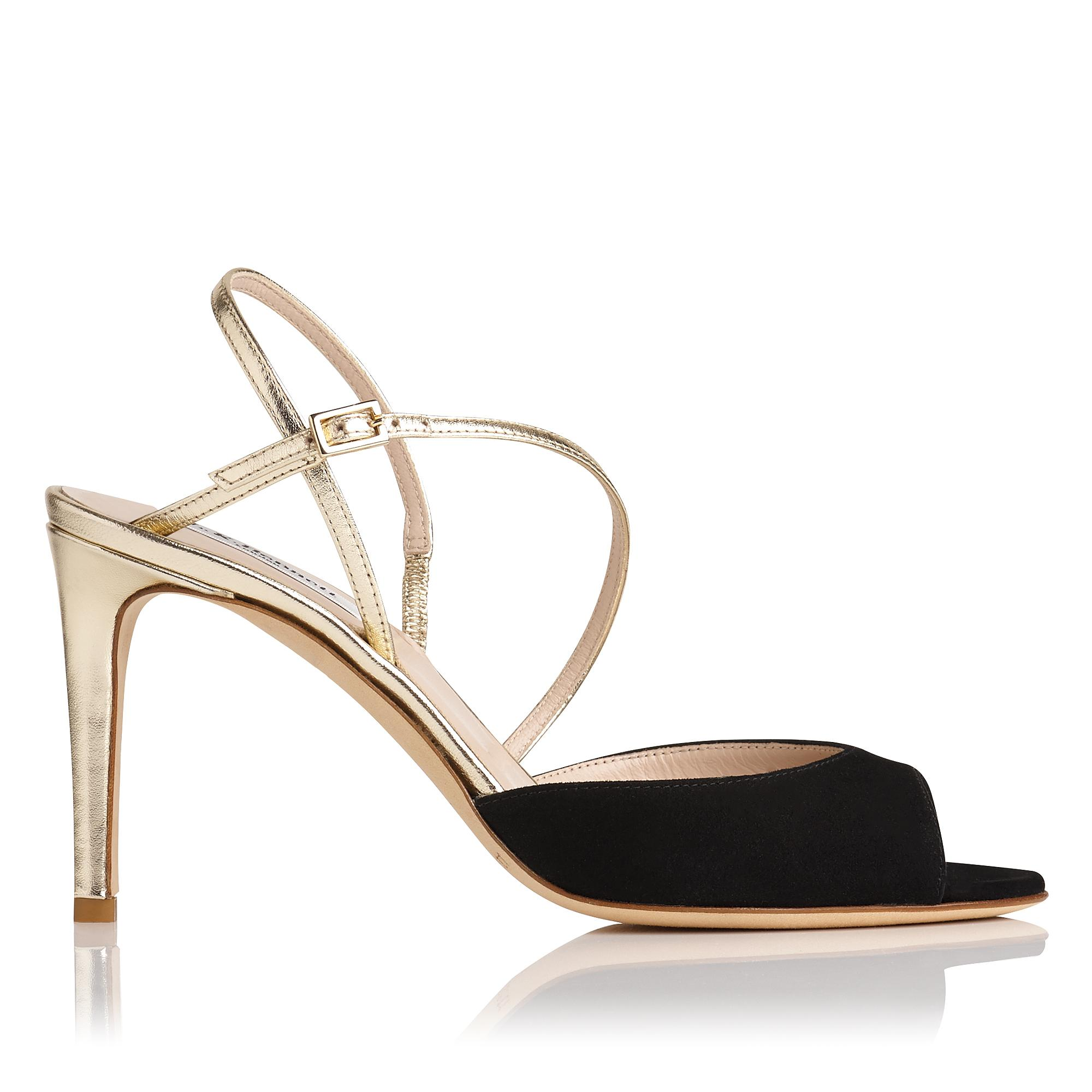 Camilla Black and Gold Suede Sandal