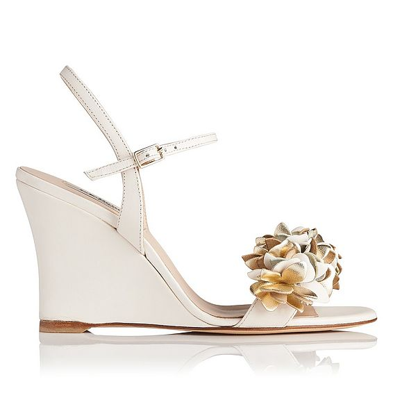 Catherine White Floral Wedge