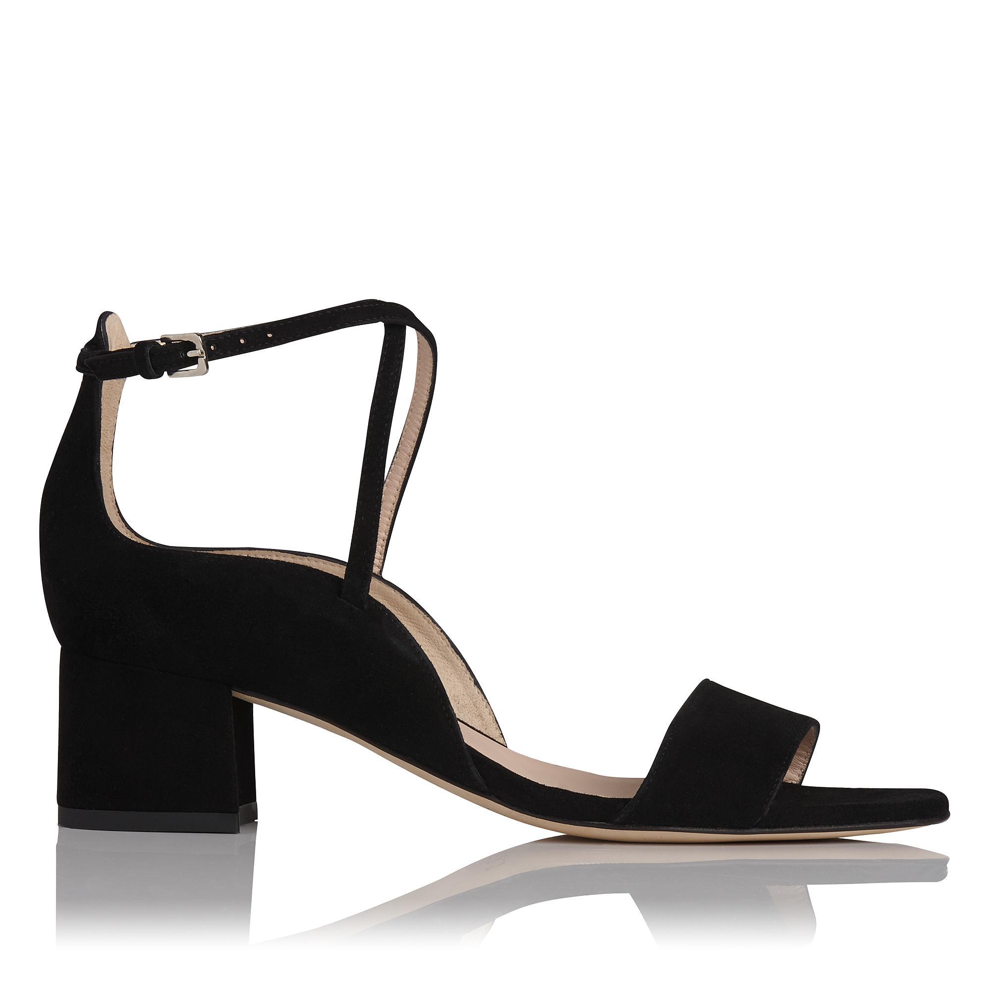 Dina Black Suede Sandal