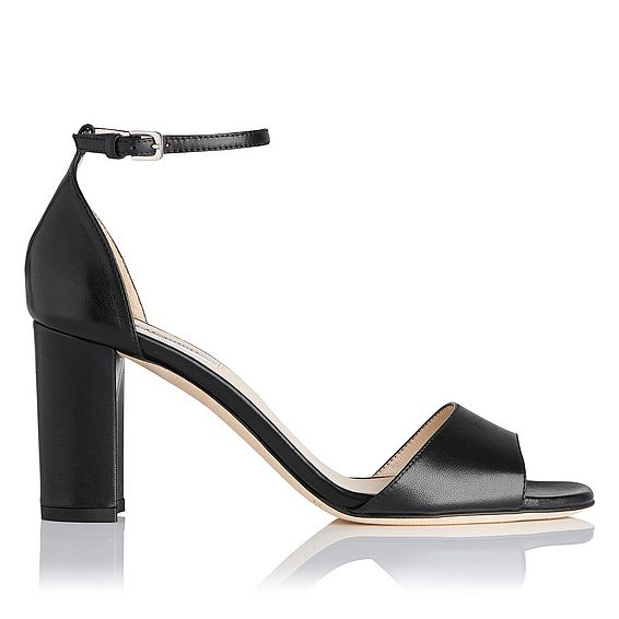 Helena Black Leather Sandal
