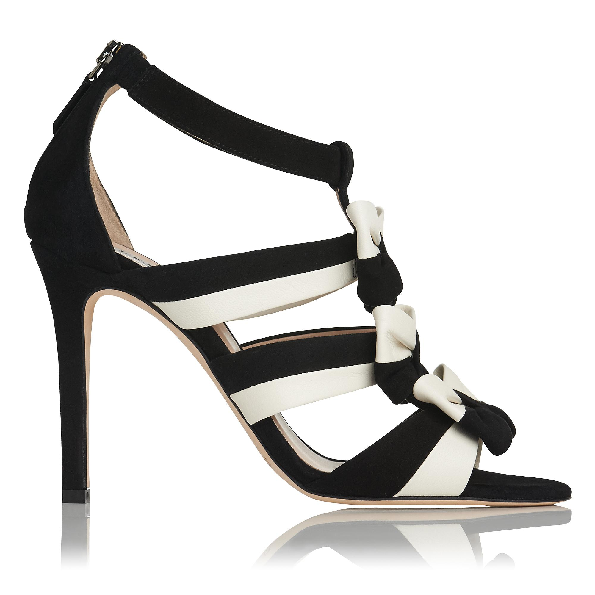 Issie Black and White Suede Sandal