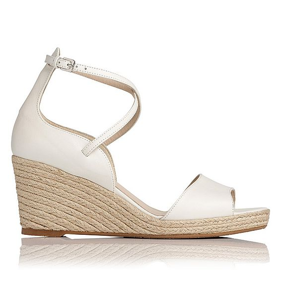 Nellie White Wedge Sandal