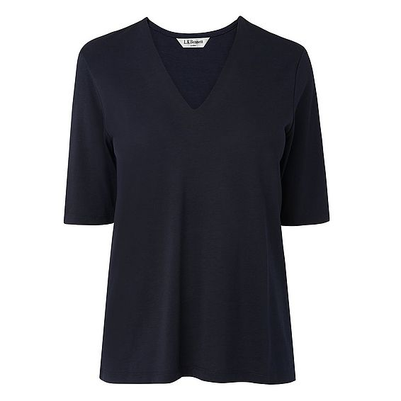 Lorna Navy V Neck Top