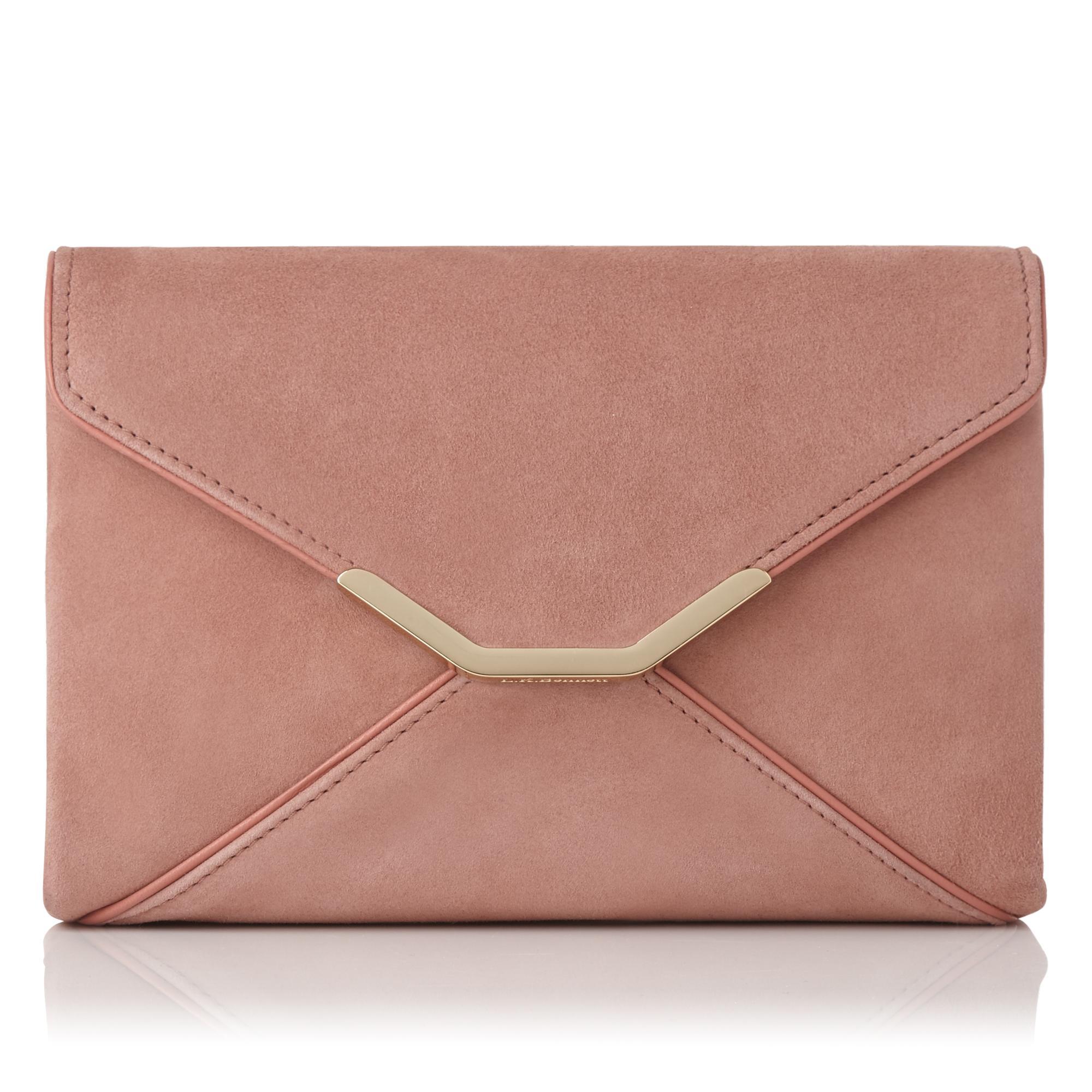 Alena Pink Suede Envelope Clutch