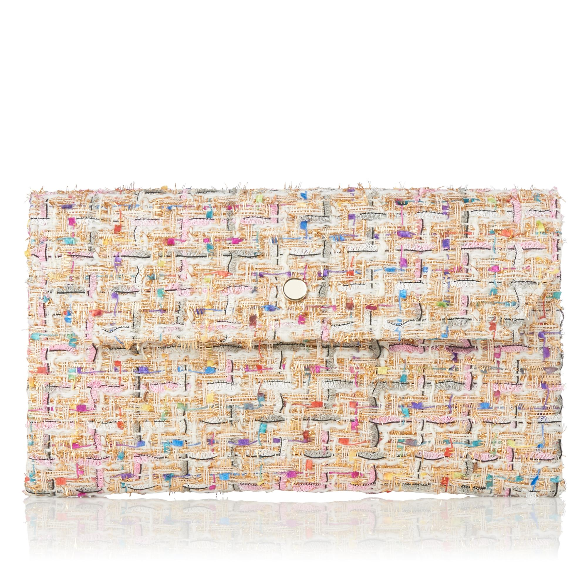 Dora Ivory Tweed Clutch
