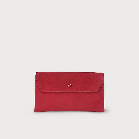 Dora Red Suede Clutch
