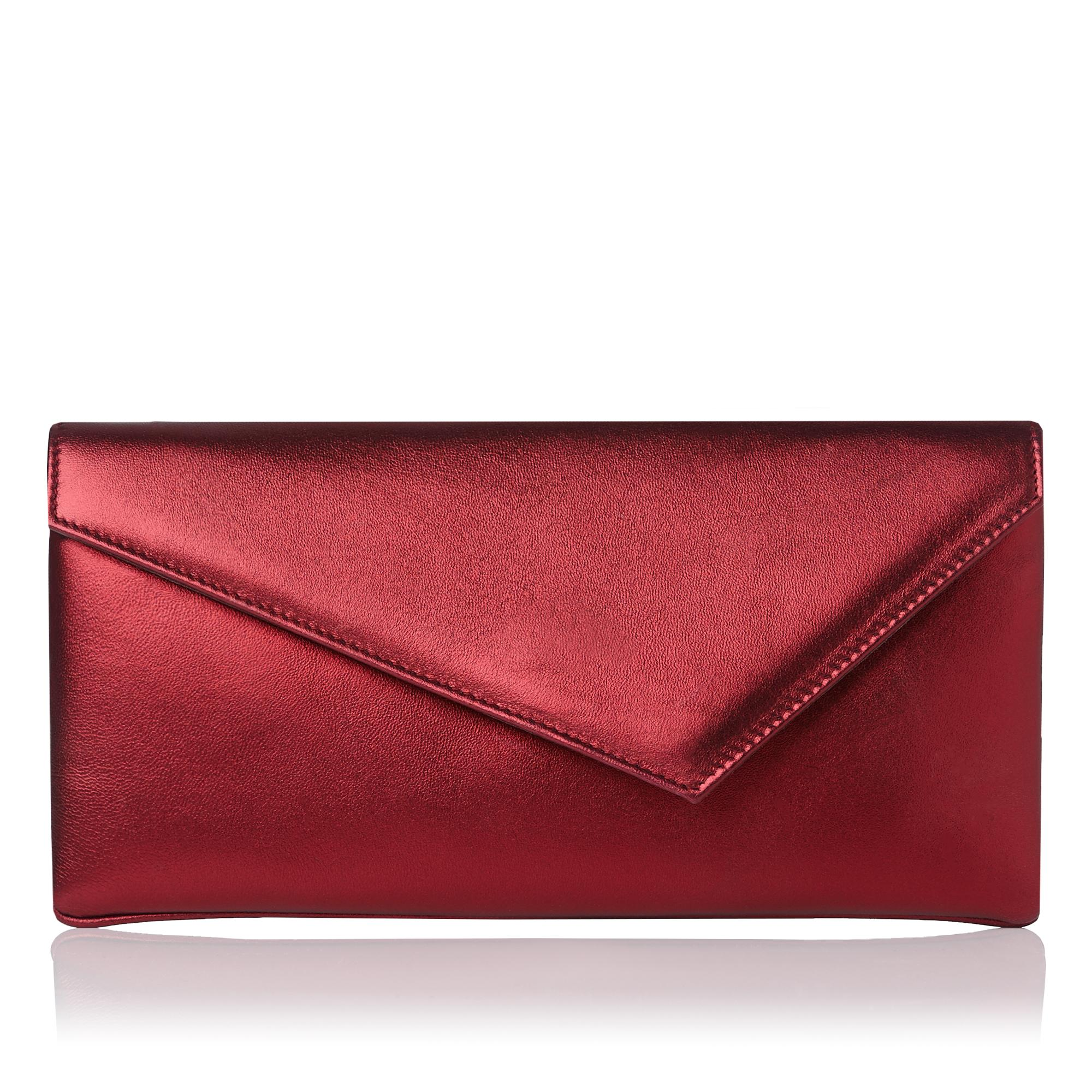 Leonie Red Asymmetric Clutch