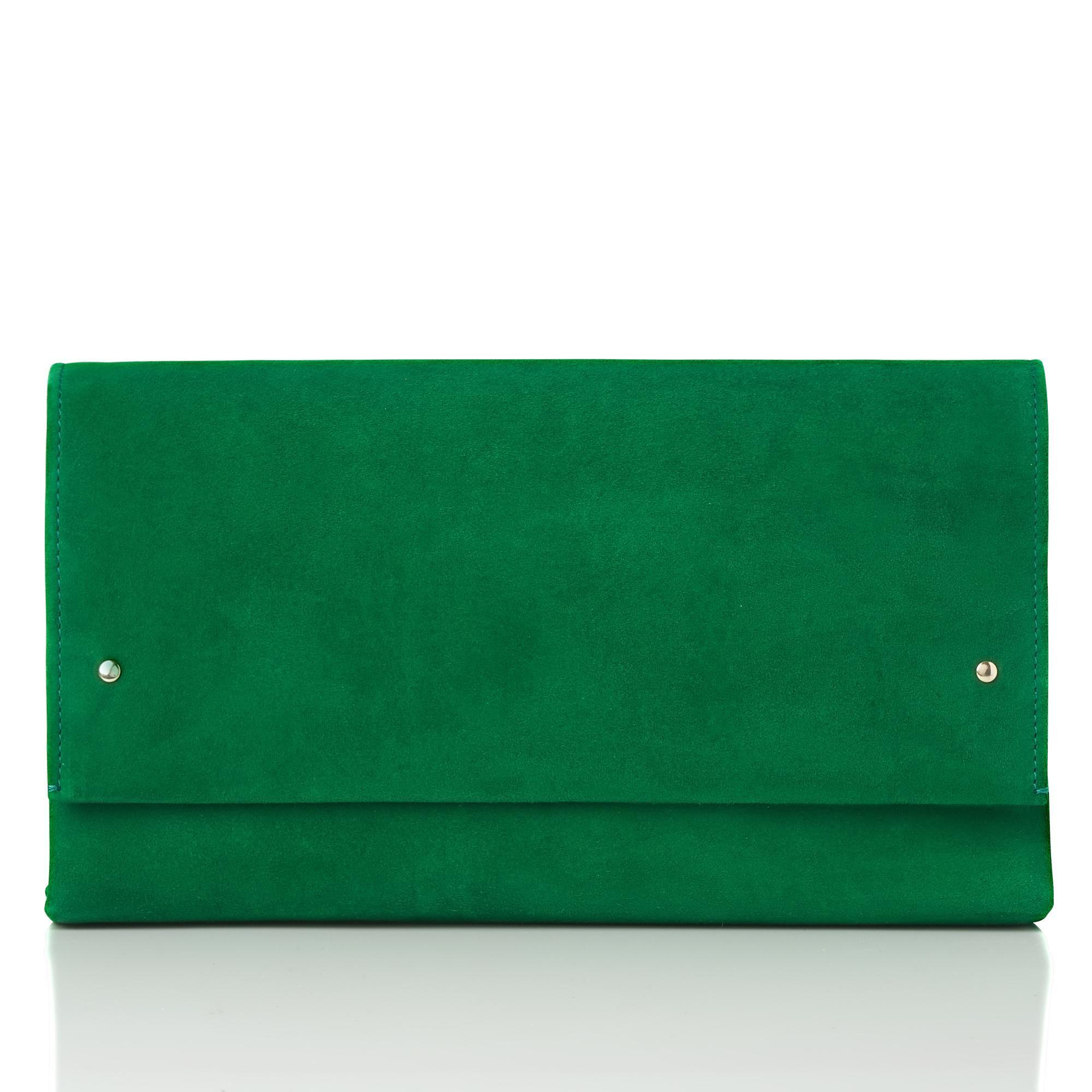 Madeline Green Suede Clutch