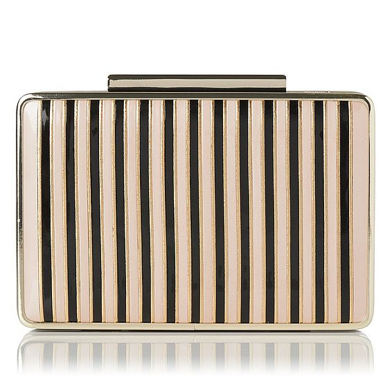 Nina Gold and Black Patent Clutch