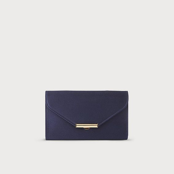 Sissi Navy Satin Clutch