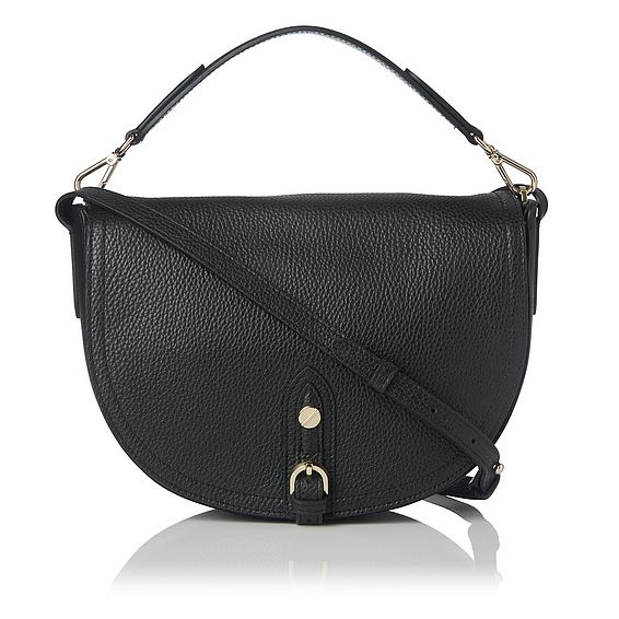 Andrea Black Leather Shoulder Bag