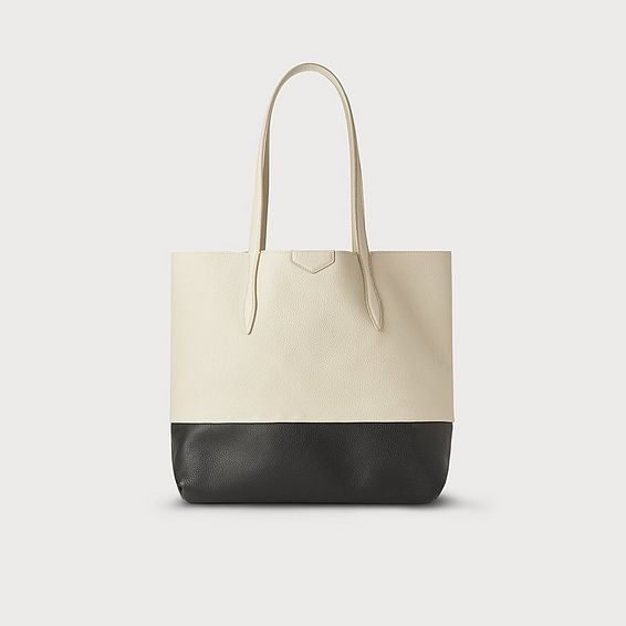 Peggy Ivory and Black Leather Tote