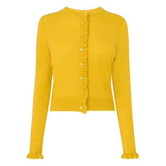 Marthe Yellow Ruffle Cardigan