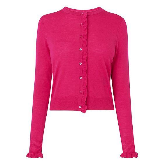 Marthe Pink Ruffle Cardigan