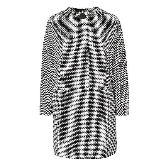 Yves Black and White Tweed Coat