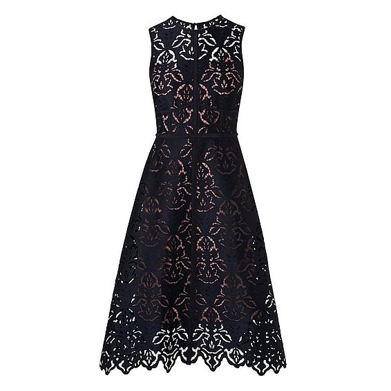 Marie Navy and Pink Lace Dress