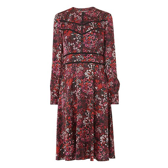 Robyn Red Floral Satin Dress