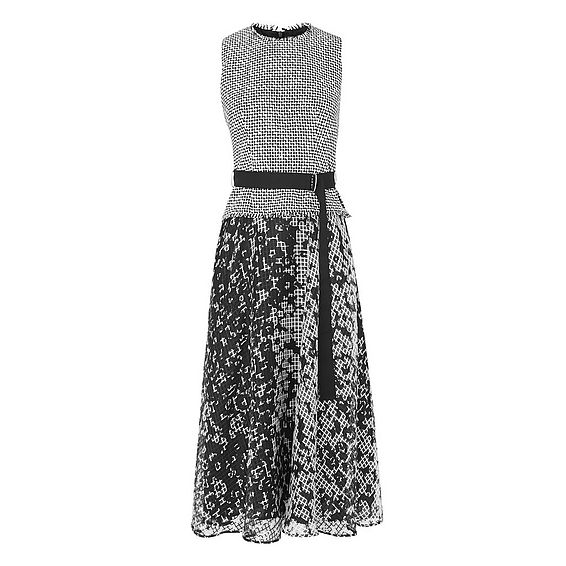 Viviene Black and White Tweed Dress