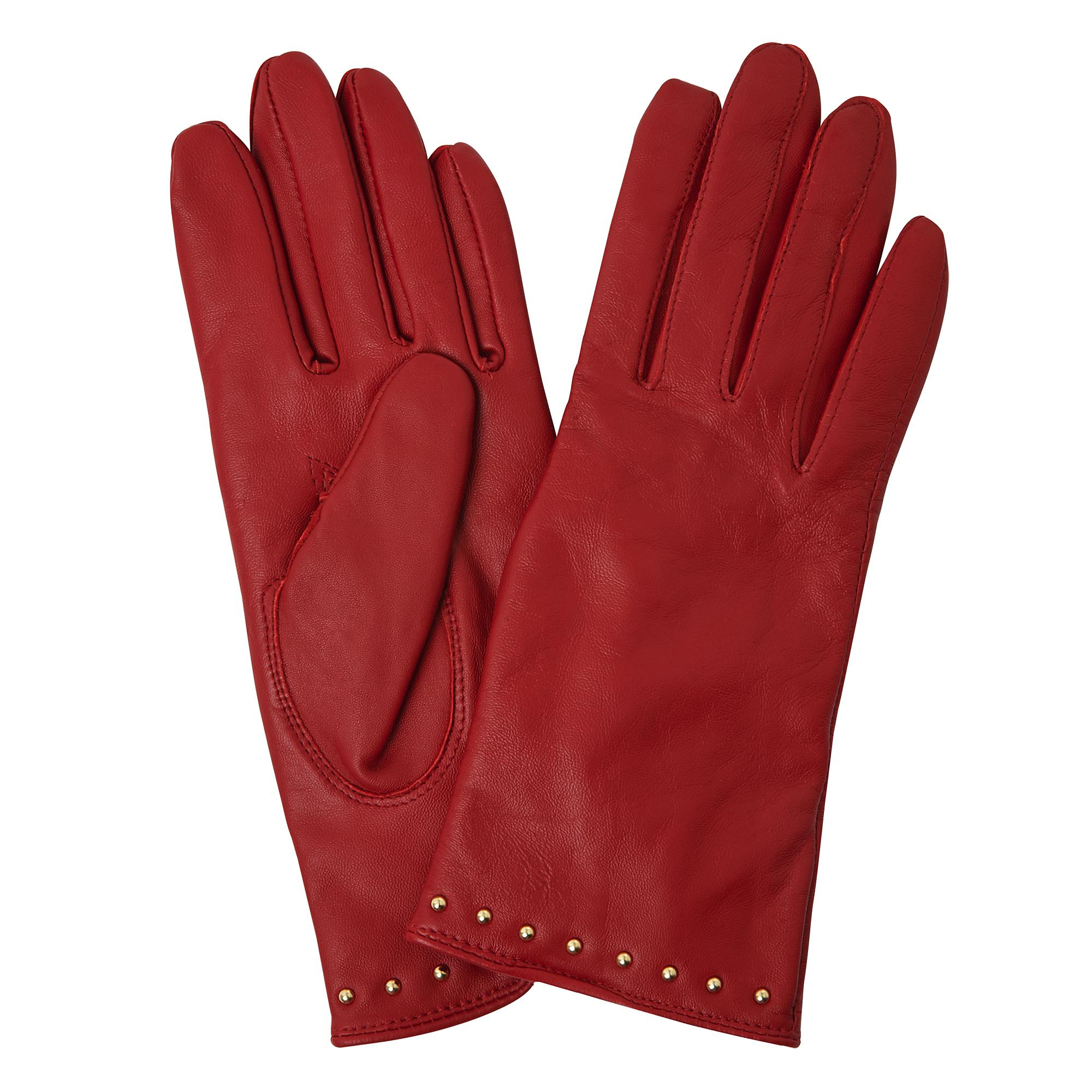 Gena Red Leather Gloves