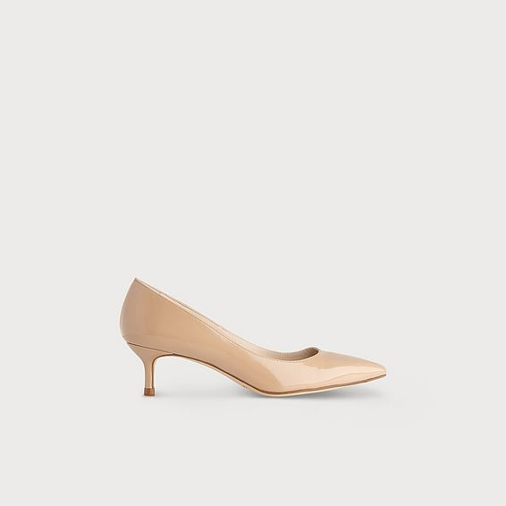 Audrey Nude Patent Leather Heel