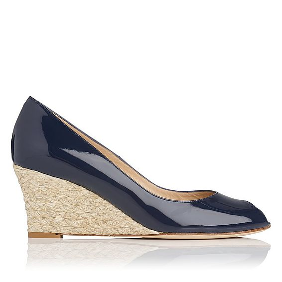 Edee Navy Patent Leather Wedge