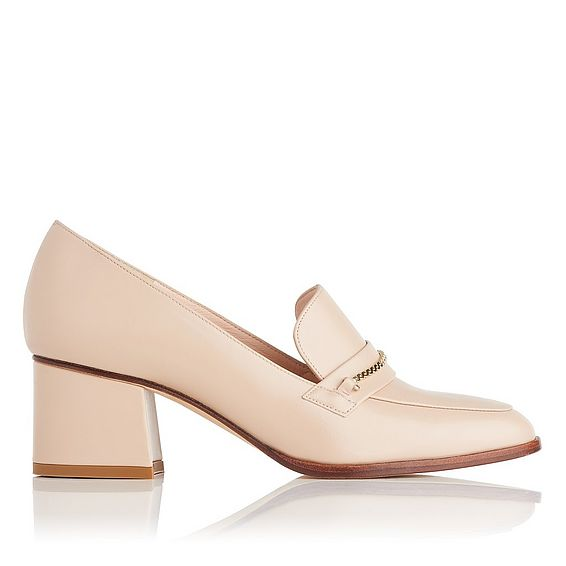 Emma Nude Leather Block Heel