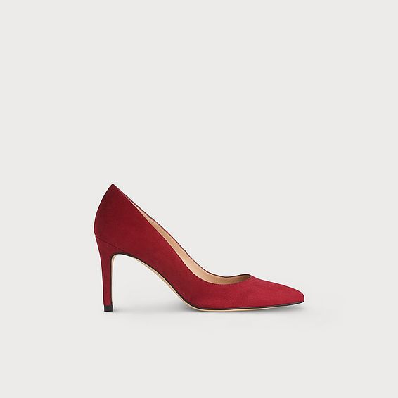 Floret Poppy Red Suede Heels