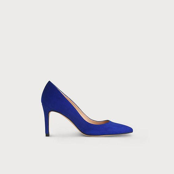 Floret Blue Suede Heels
