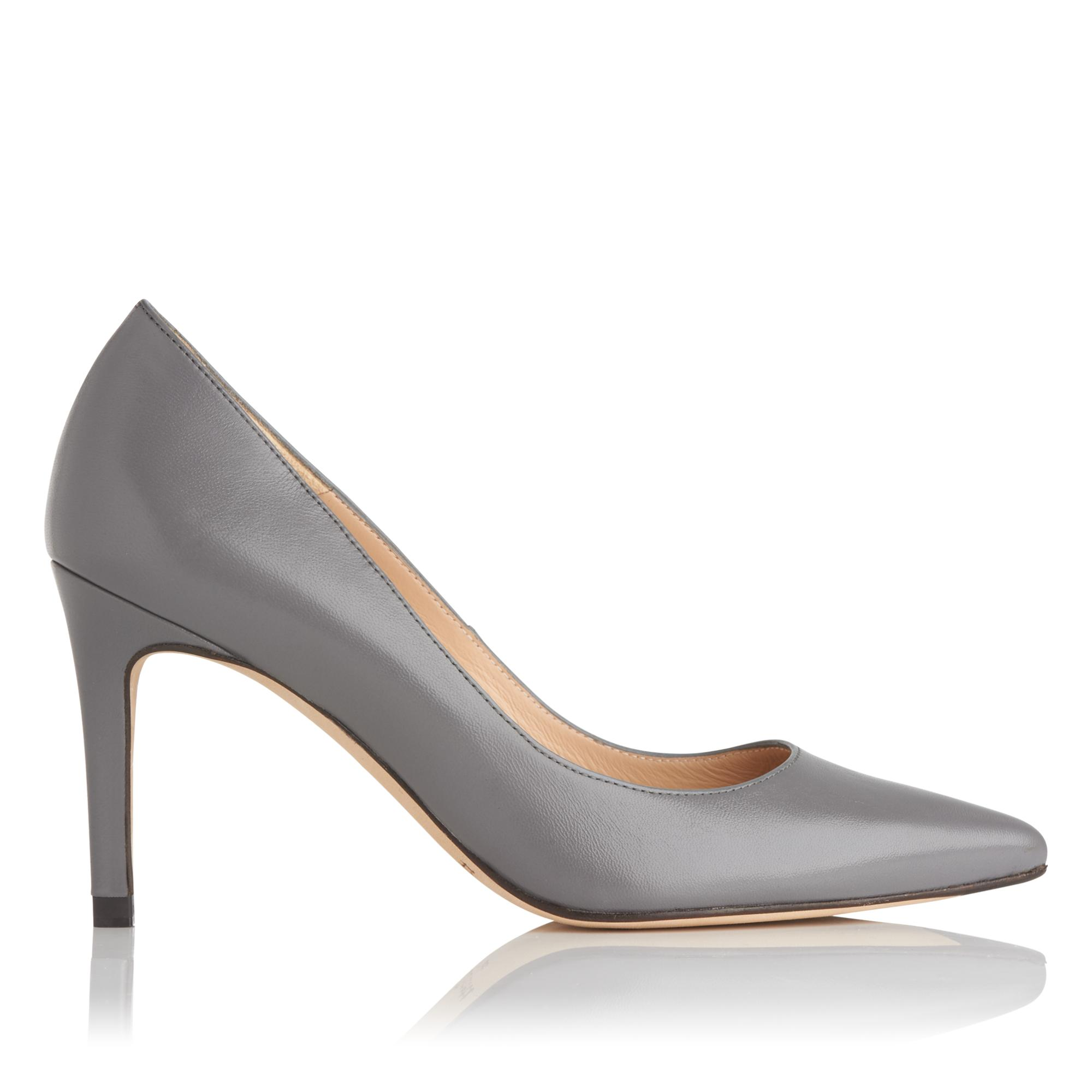 Floret Grey Leather Heel
