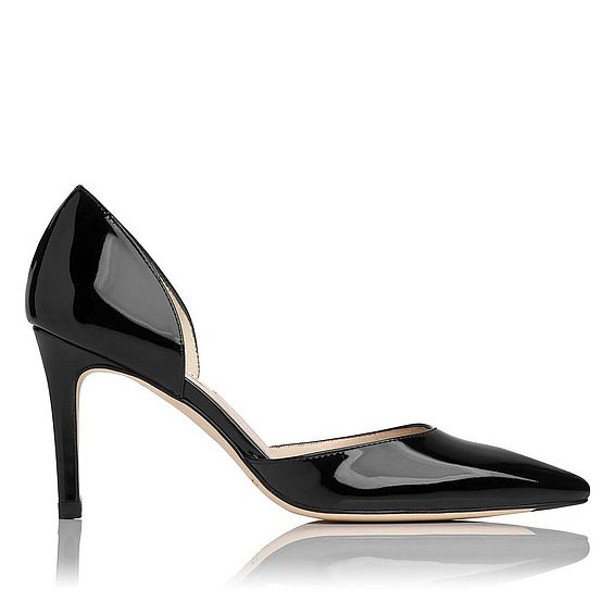 Flossie Black Patent Leather d'Orsay Heel