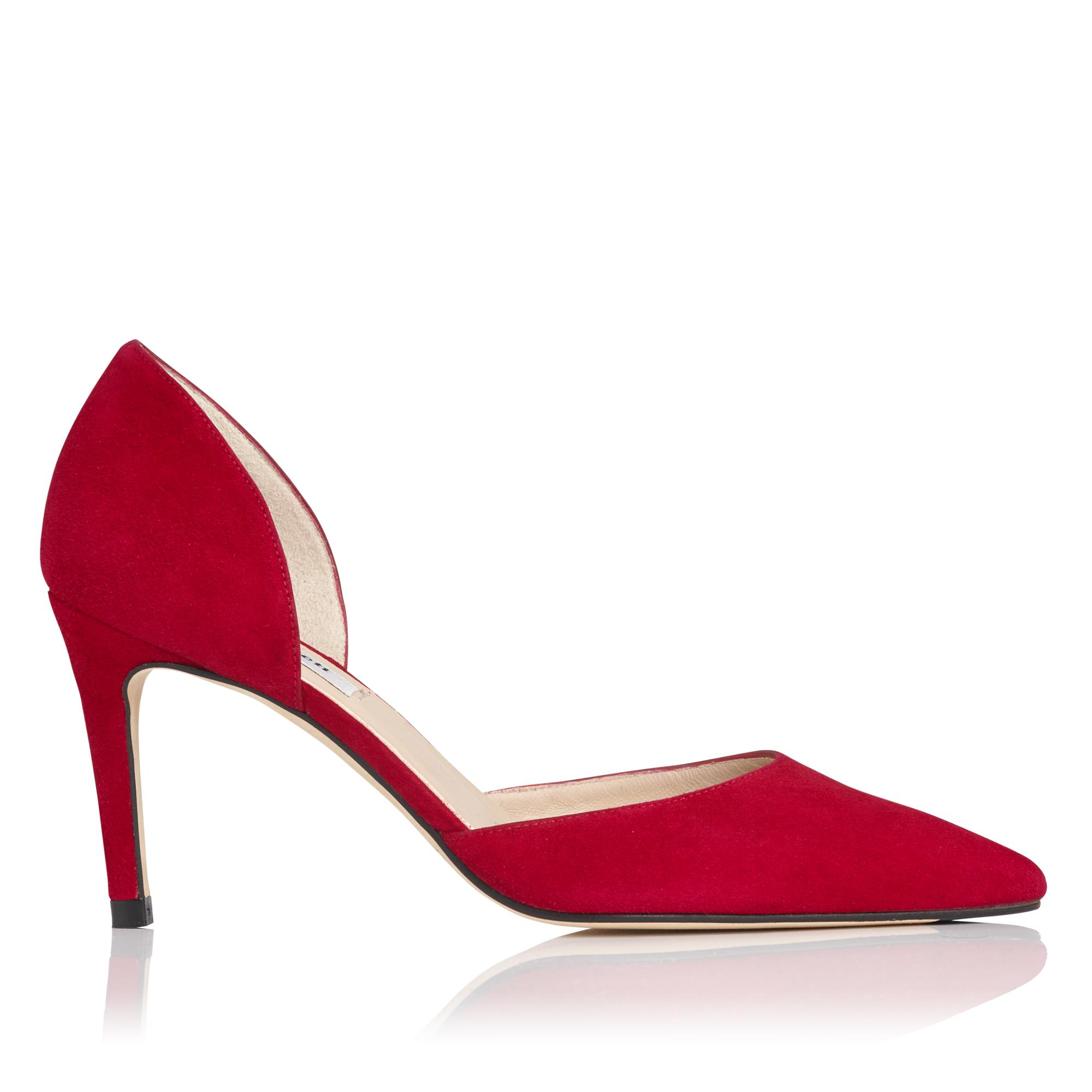 Flossie Red Poppy Suede d'Orsay Heel
