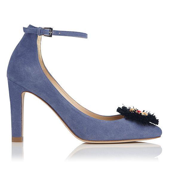 Gwen Blue Suede Heel