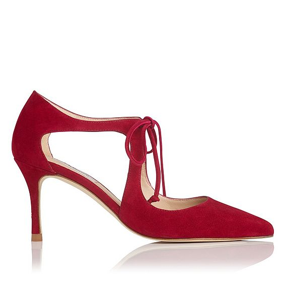 Hyelin Red Poppy Suede Heel