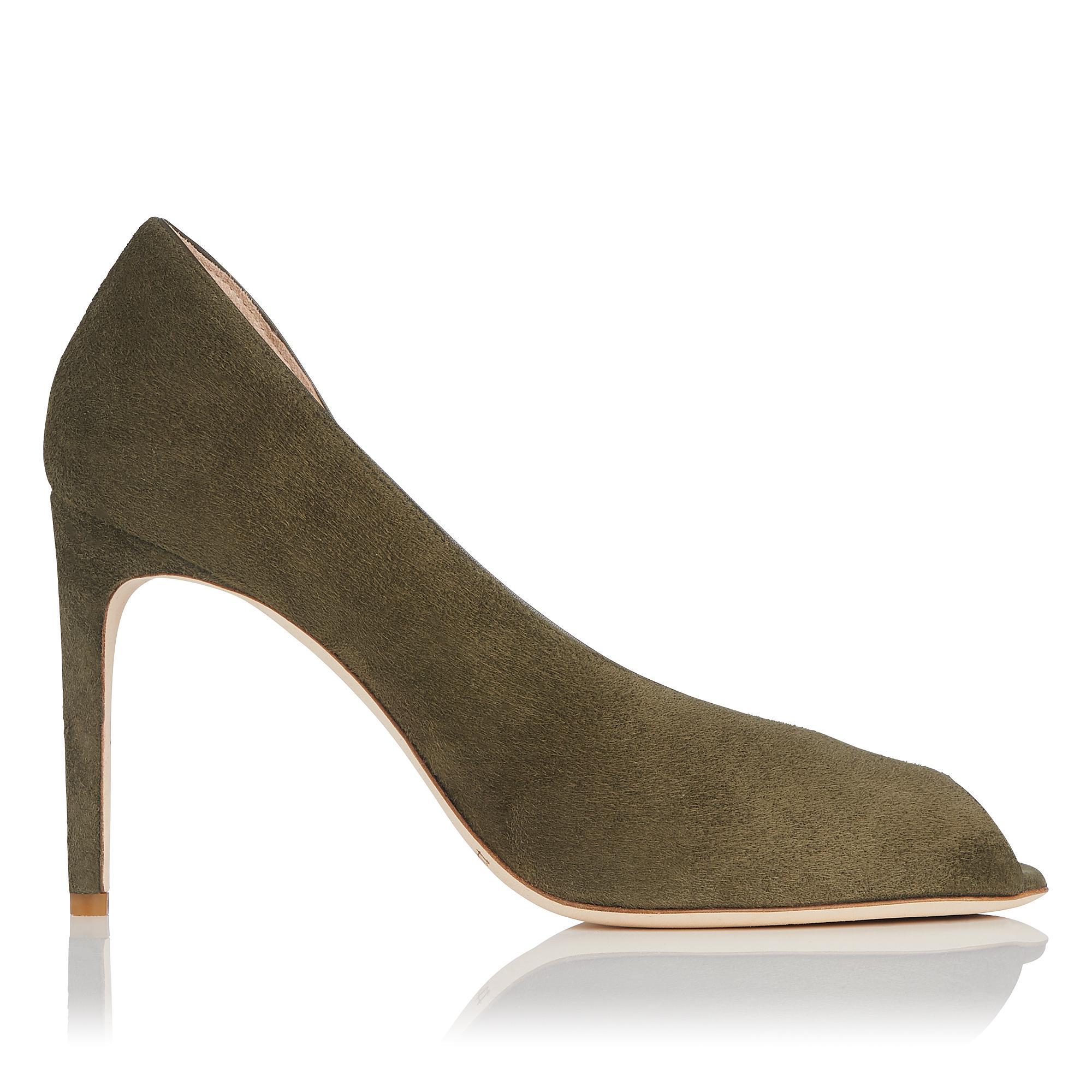 Kayleigh Khaki Green Suede Heel
