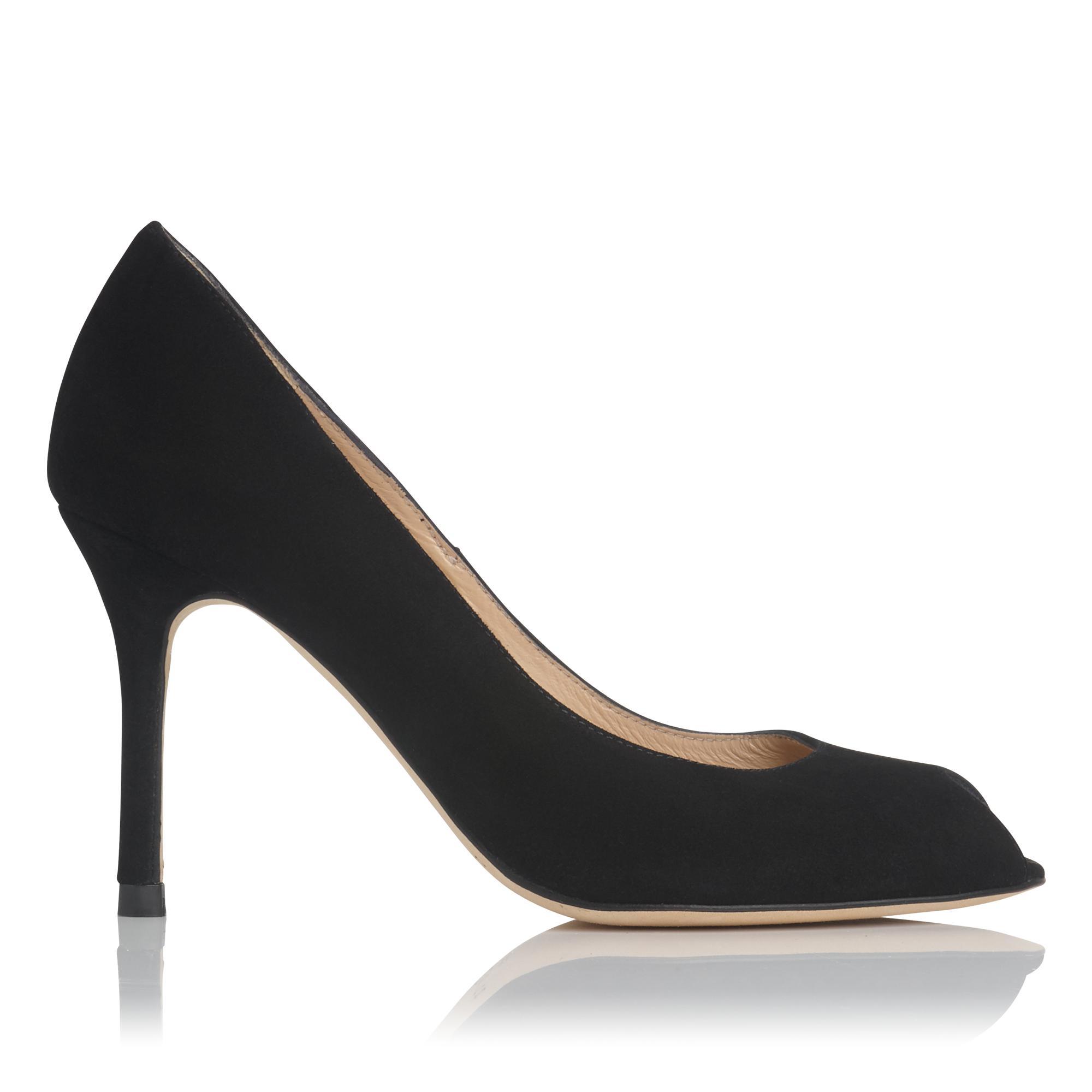 Margo Black Suede Peep Toe Heel