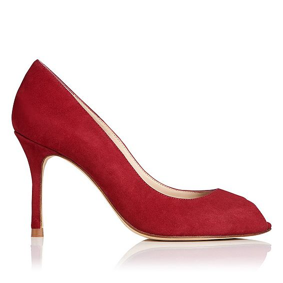 Margo Red Poppy Suede Peep Toe Heel